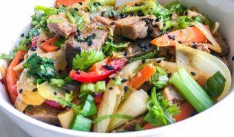 pork udon noodle stir fry
