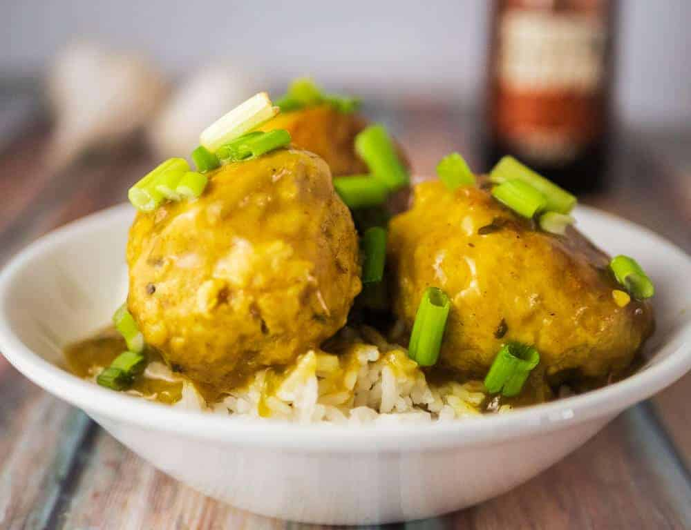 Instant Pot Meatballs Chicken Curry style is healthy,tasty, and delicious. Much lower calories than standard meatballs