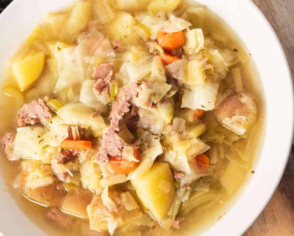 corned beef cabbage soup up close