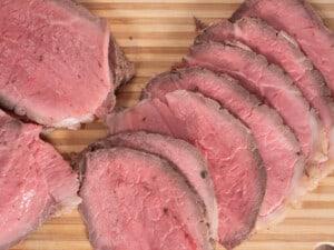 overhead image of instant pot roast beef sliced