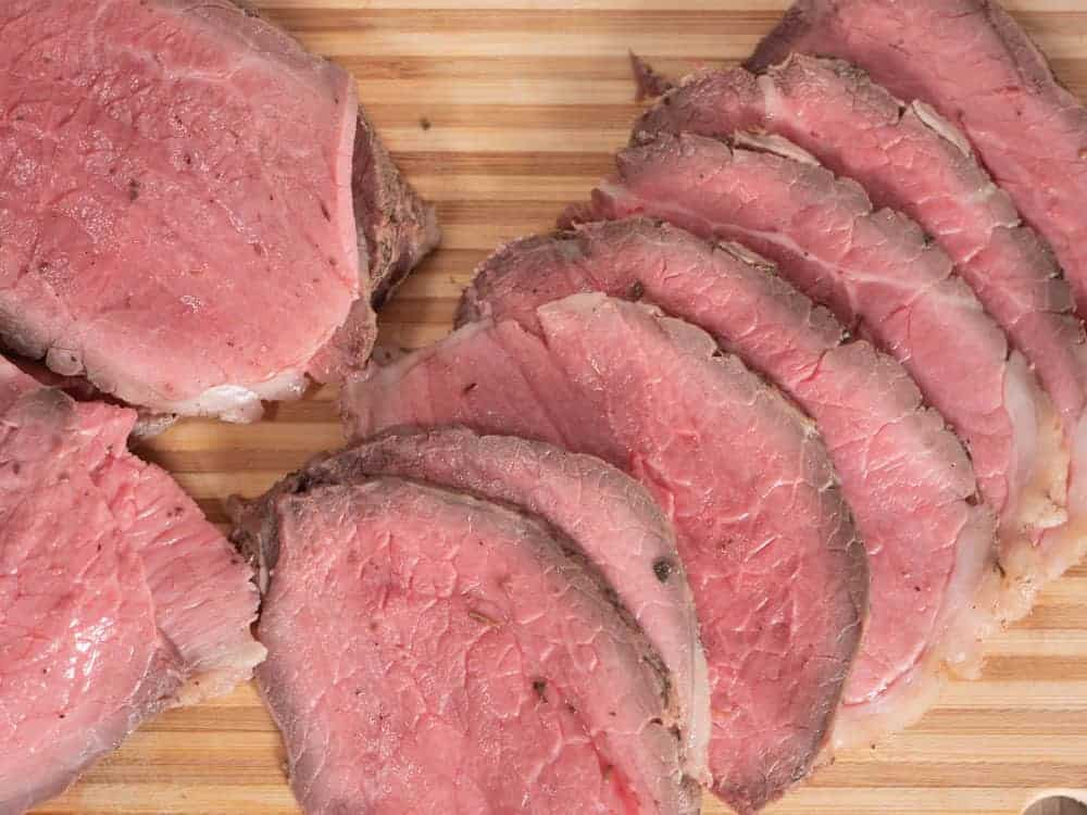 overhead image of instant pot roast beef sliced