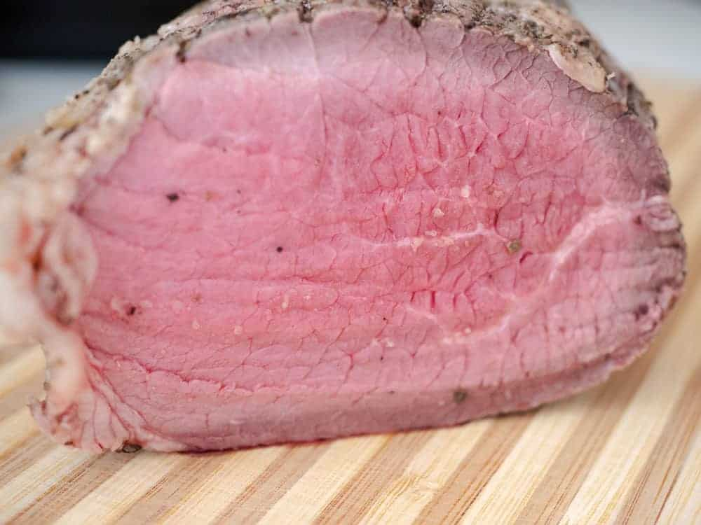 side shot of rare roast beef made in the Instant Pot