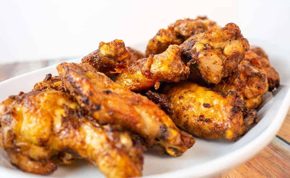 Crispy Close up of spicy jerk wings