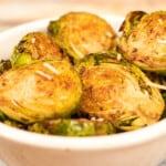 Close up Air Fryer Roasted Brussels with Parmesan