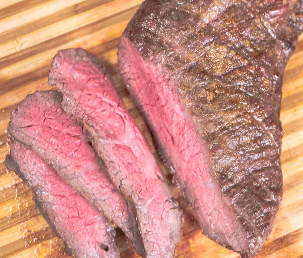 Sliced Tri Tip Roast. Perfectly cooked.