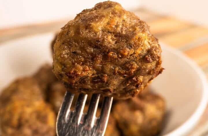 Air Fryer Meatballs Up Close