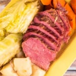 Close up of pressure cooker corned beef and cabbage