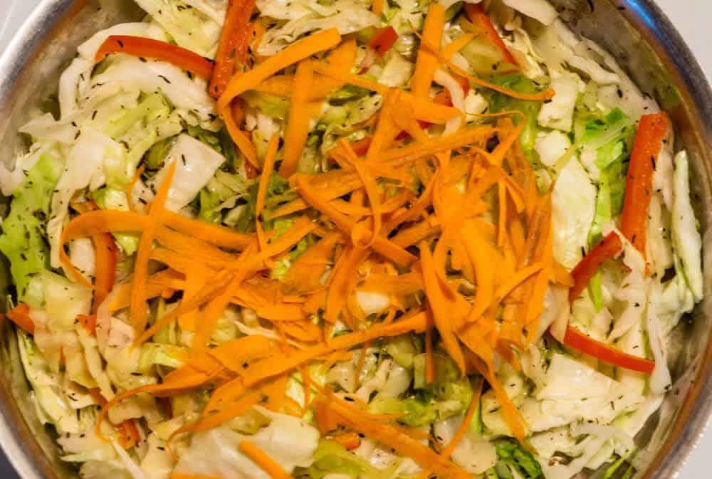 Closeup of Pan ingredients making Jamaican Cabbage