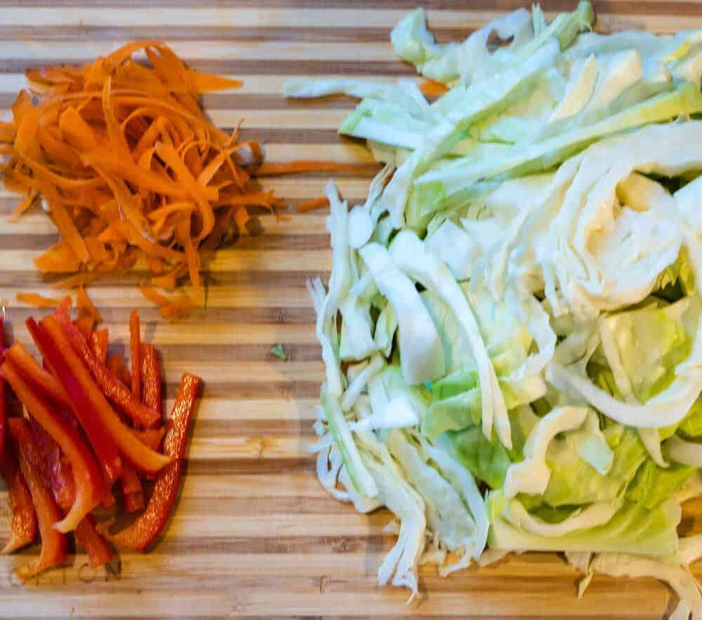 Jamaican Cabbage Ingredients on chopping board