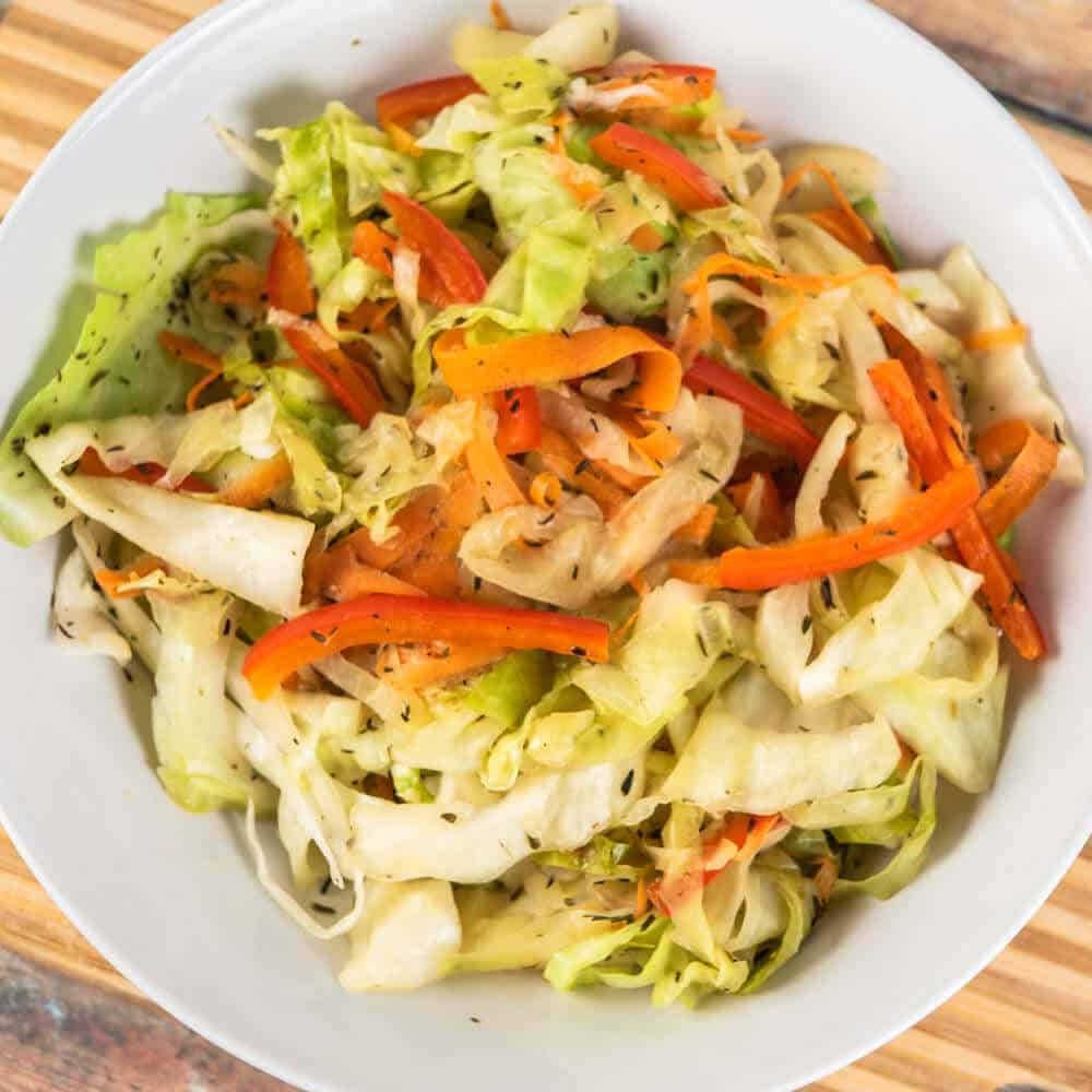 jamaican steamed cabbage in bowl