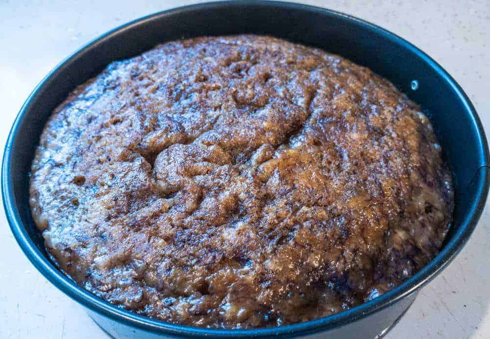 Baked Instant Pot banana bread ready to cool