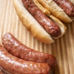 juicy smoked brats finished and ready to eat