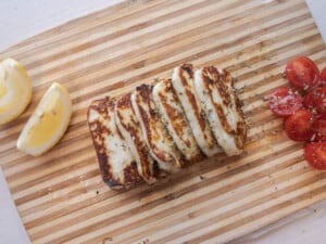 Cooked Halloumi on serving board