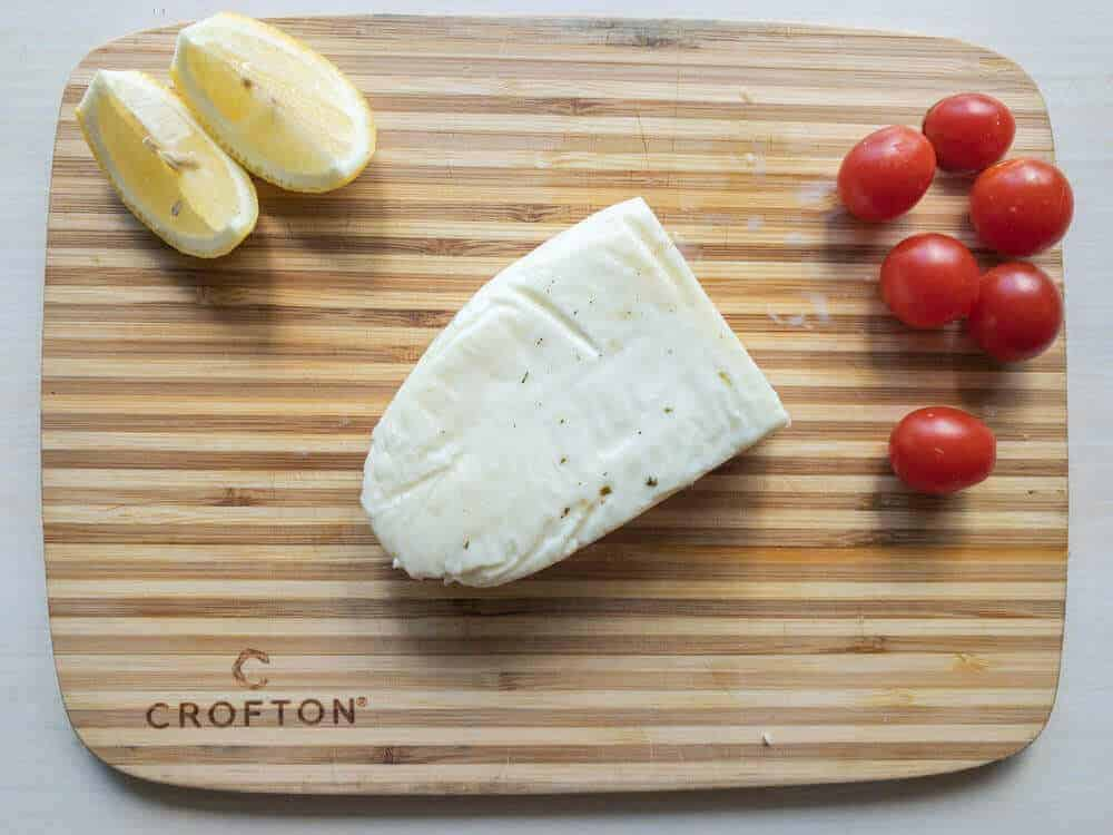 Halloumi ingredients on cutting board