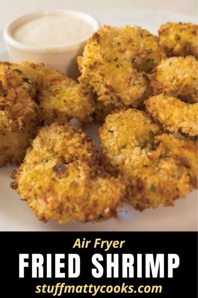 Pinterest Pin of crispy fried shimp from Stuff Matty Cooks