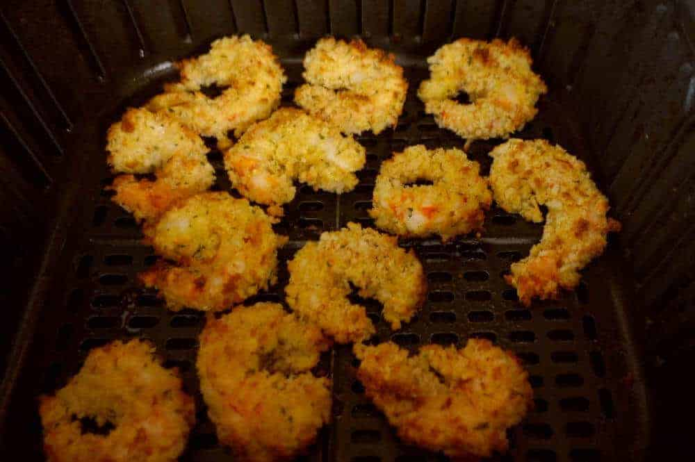Fried shrimp cooked halfway in the air fryer