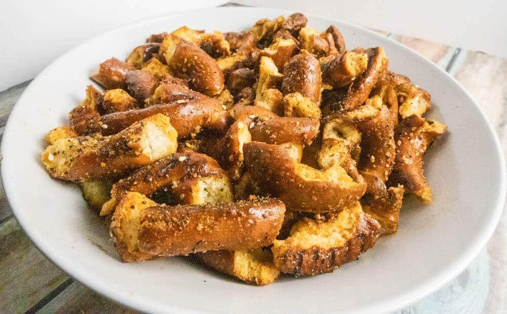 Crispy golden pretzels close up