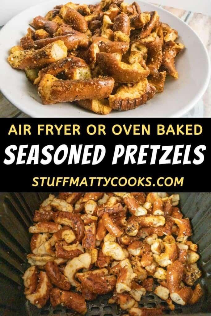 seasoned pretzels pinterest pin image