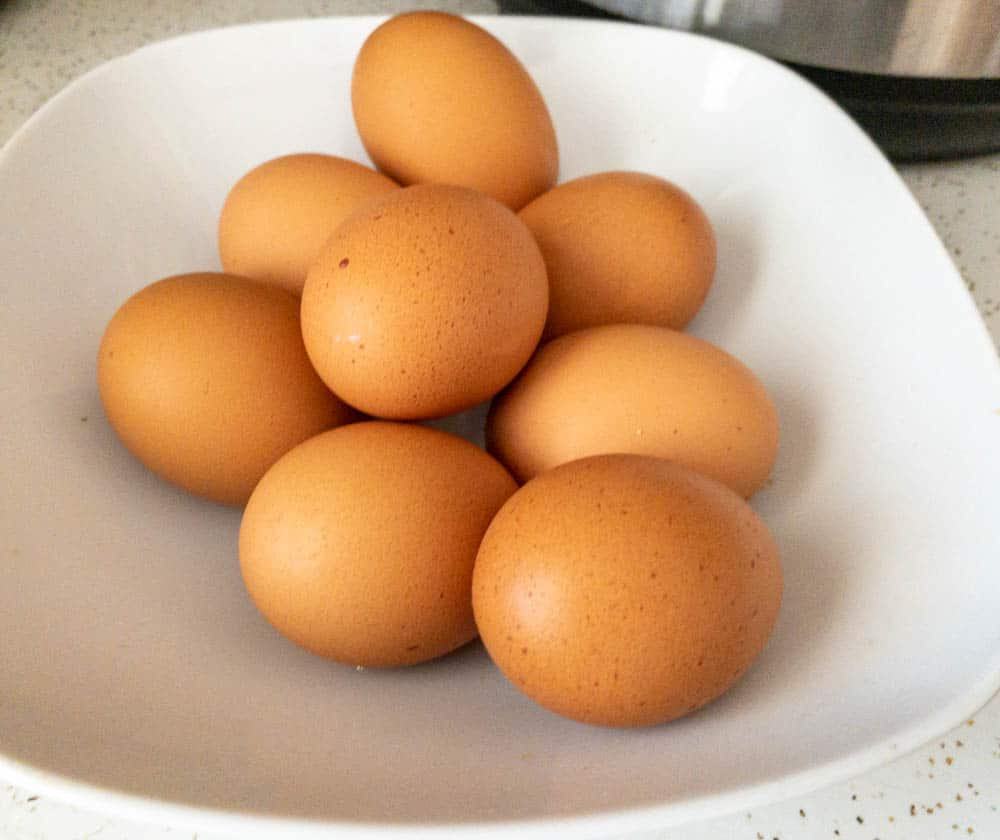 Hard boiled eggs ready to be peeled after being cooked in the Instant Pot
