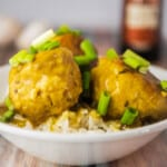 Chicken curry meatballs close up