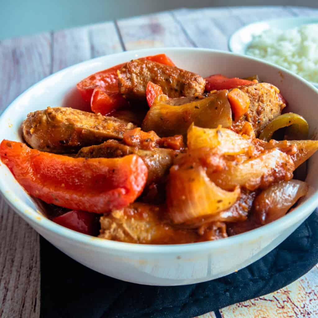 instant pot sausage and peppers close up featured image