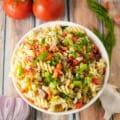 instant pot vegetable pasta salad flatlay