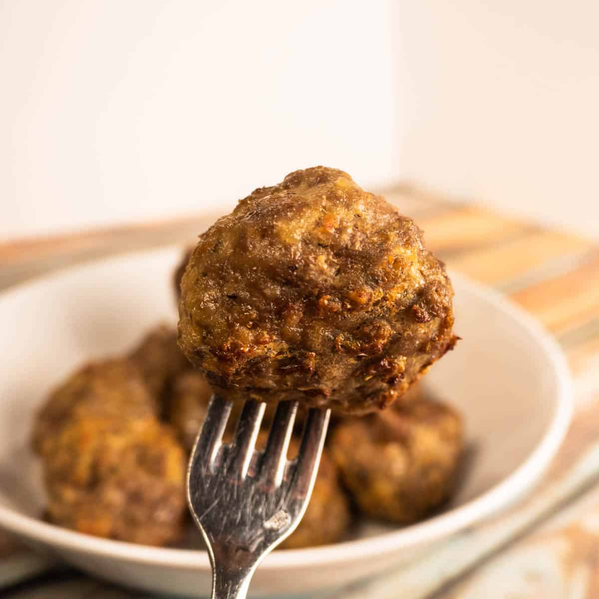 air fryer meatballs close up