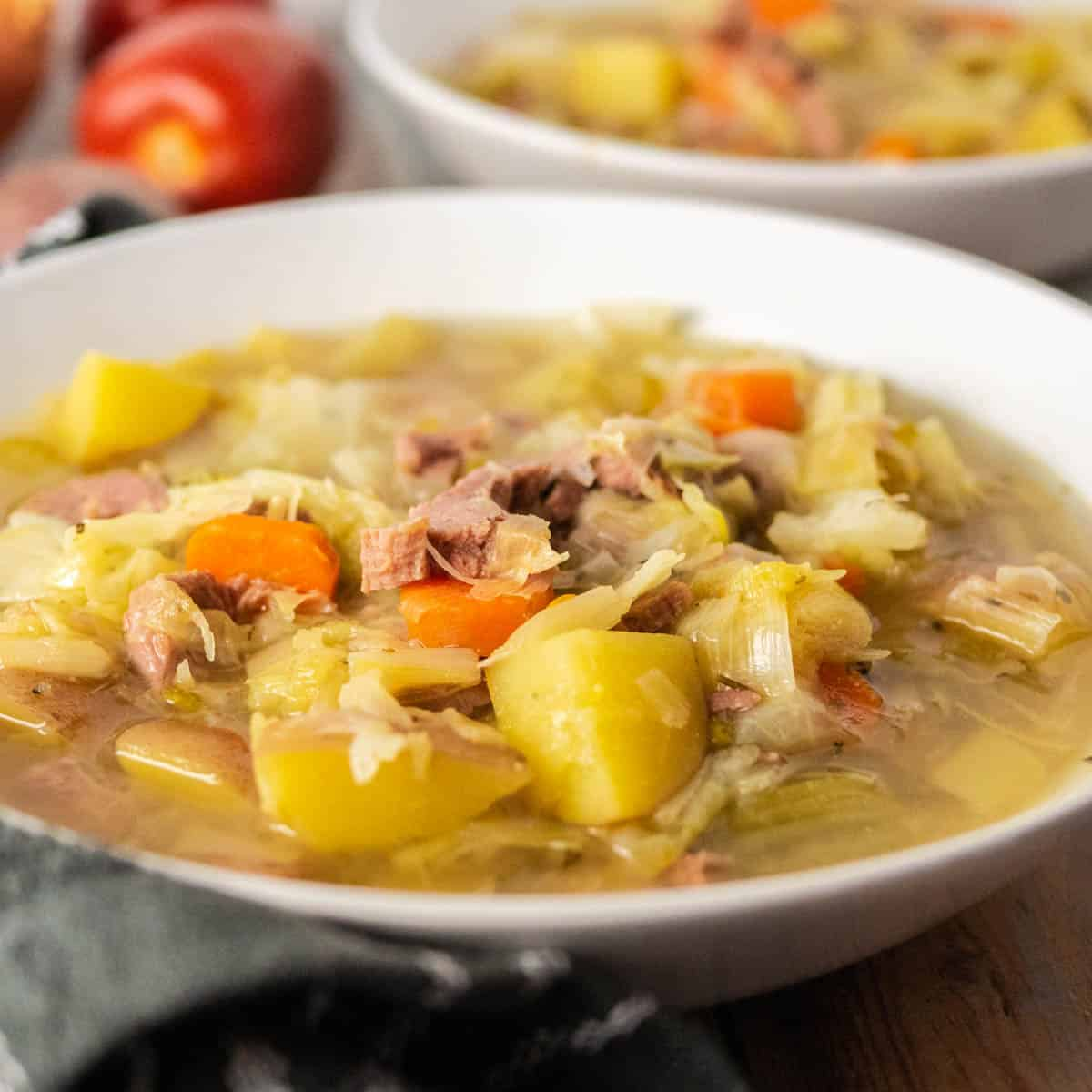 corned beef and cabbage soup close up
