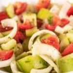 cucumber tomato salad closeup