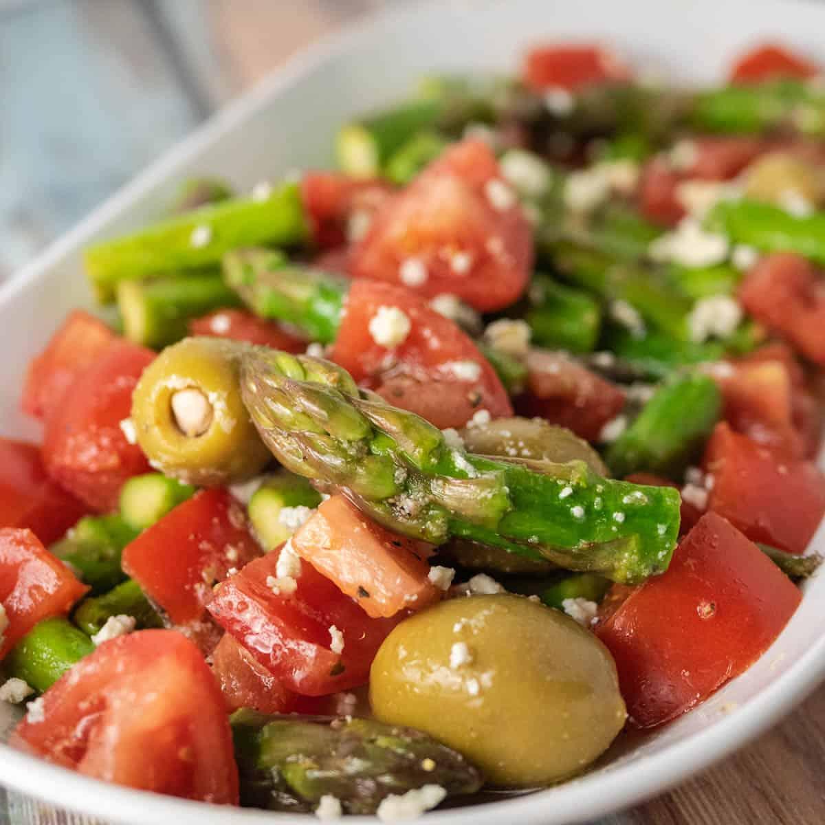 lemon asparagus salad close up featured