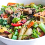 pork udon noodle stir fry close up