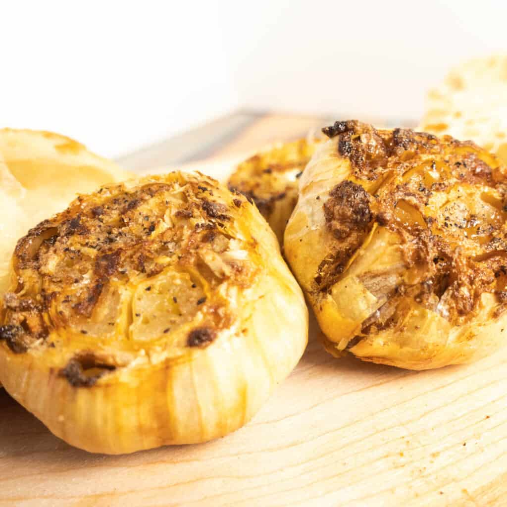 Finished roasted garlic caramelized golden brown