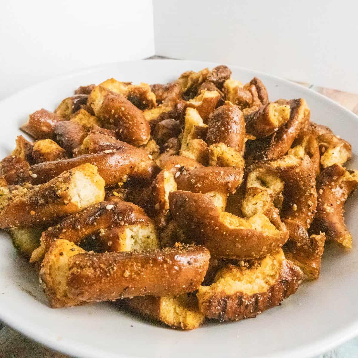 Crispy golden pretzels close up photo