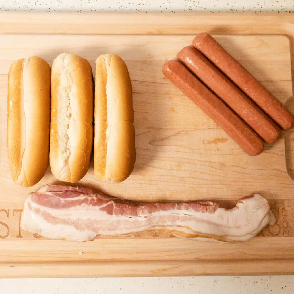 ingredients needed to make bacon wrapped hotdogs