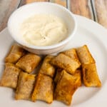air fryer pizza rolls crispy and crunchy with homemade garlic dip