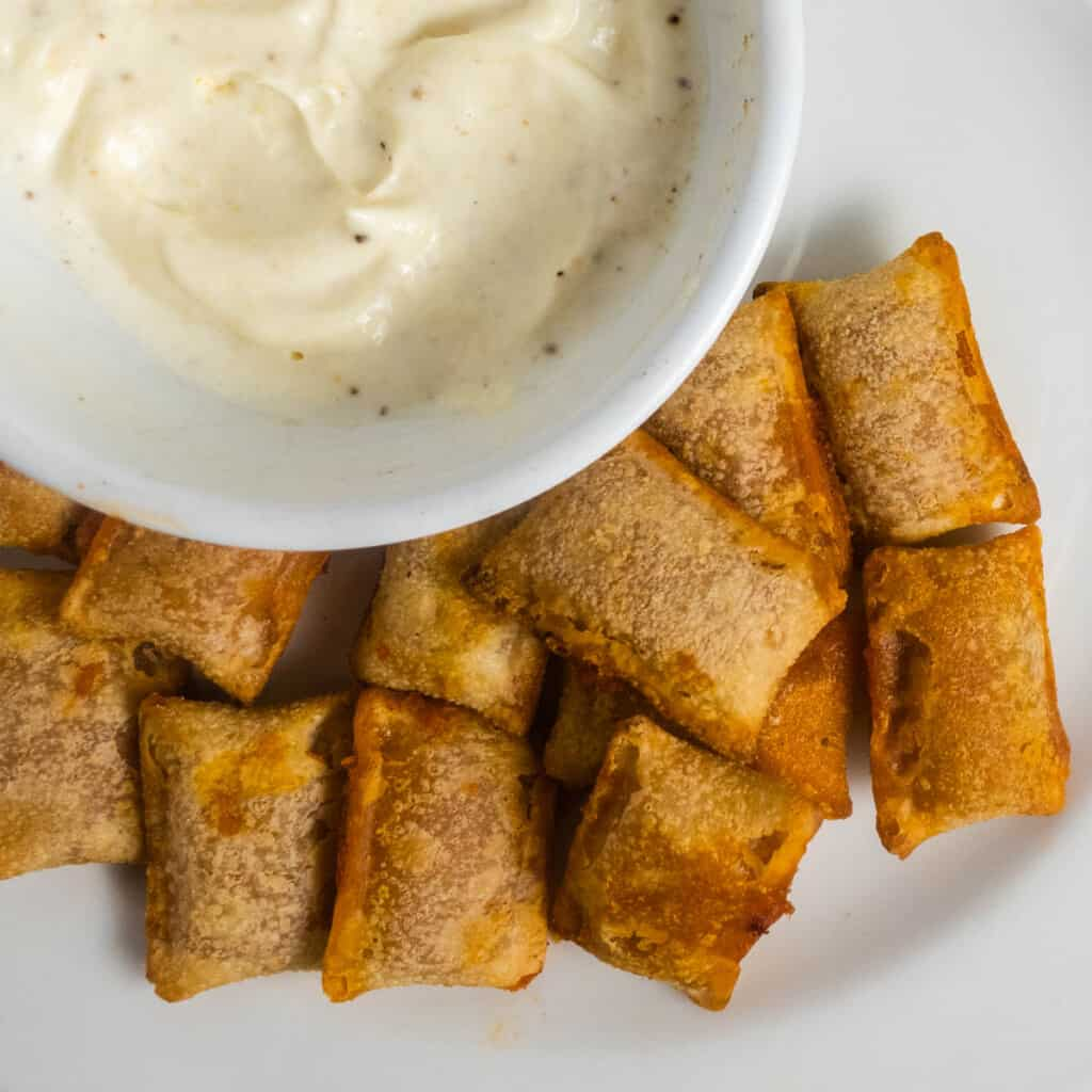 pizza rolls and garlic dip picture flatlay